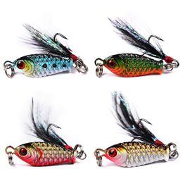 Wholesale Lead Fishing Metal - 4 colors 2.5cm 6.4g Jigs Lead Fish Metal Fishing Lure Hooks 8# Hook Artificial Lures Baits Carp Fishing Accessories