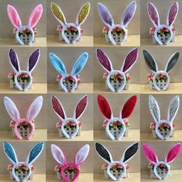 Wholesale Rabbit Stick - 27 colors Europe and the United States children's Christmas hair accessory Fluffy rabbit ear Hair hoop Cute hair accessory free shippin