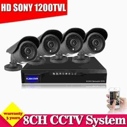 Wholesale cctv function - Home Security CCTV System 8CH DVR Kit HD 4pcs 1200TVL SONY CCD Camera Support HDMI 1080P Output 3G wifi P2p Function