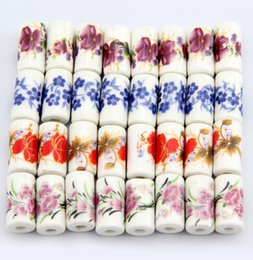 Wholesale Bags Loose Beads - Porcelain Beads, 9mm*17mm,DIY accessories ceramic loose beads,flower design,more colors for choice sold per bag of 100 pcs