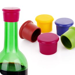Wholesale Silicone Bottle Stoppers Wine - 3.5*2.8*3.1CM Silicone Wine Stopper Candy-colored food-grade silicone fresh beer bottle cap wine stopper cork ELH005