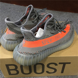 Wholesale Football Uk - Original Boost 350 V2 Black UK Mens Womens Size 36-48 BY1604 Fashion Outdoor Sneakers Core Black Grey Orange Red with Box Mix Order
