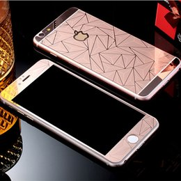 Wholesale Iphone Back Glass Diamond - 3D Diamond Color plating tempered glass for iPhone 7 6s 6 6plus 5S Mirror front and back screen protector Film with retail box
