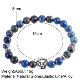 Wholesale Ancient Stone Bead - Restoring ancient ways the new natural stone agate emperor wang shi hands crown lion a string of beads elastic bracelet adorn article