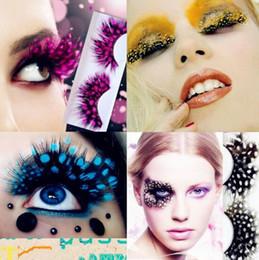 Wholesale Stage Eye Makeup - Colorful Fashion 3D False Eyelashes Handmade Eyelashes False Eyelash Party Gorgeous Exaggeration Eyelash Stage Eye Makeup CCA8385 50pair