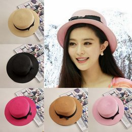 Wholesale Straw Hat Womens Fashion - Womens Men Summer Beach Straw Hat Flat Top Boater Sailor Black Band Sun Cap NEW
