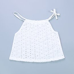 Wholesale Infant Lace Tops - INS Baby Girls Tops Summer Cotton Lace Hollow White Tank Tops Tees Sleeveless Shirt Toddler Infant Newborn Baby Clothes Kids Clothing 079