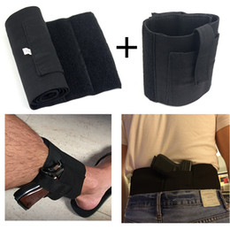 Wholesale Tactical Magazines - Tactical Concealed Universal Carry Ankle Leg Pistol Gun Holster+Concealed Carry Belly Band Holster With 2 Mag Magazine Pouch