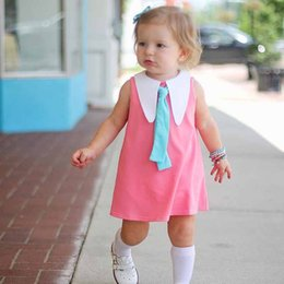 Wholesale Bow Tie Styles For Girls - Everweekend Baby Girls Cotton Summer Dress Lapel Neckline with Tie Candy Color Princess Holiday Dresses for 1-3 years old