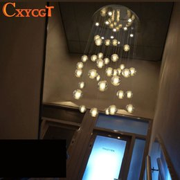 Wholesale Led Shower Lighting Fixtures - 36 Lights Modern Clear Cast Glass Ball Meteor Shower Chandelier Wtith Polished Chrome Stainless Steel Lighitng Fixture