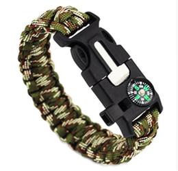 Wholesale Paracord Whistle Bracelet - Outdoor Survival Bracelets 5 in 1 Gear Kits Escape Paracord Bracelet Flint Whistle Compass Scraper for Hiking Camping Fast Shipping
