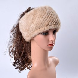 Wholesale Yarn Hair Band - Ms.Leefur Winter Women's Fur Hats Real Mink Striped Genuine Fur Hair Band Casual Russian Natural Fur Hat Caps Female