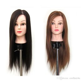 Testa di mannequin di formazione dei capelli umani online-COOLHAIR4U 22 '' Brown Hair Hairdressing Cosmetology Practice Training Testa umana Mannequin + Clamp Cosmetologia Mannequin Head Free