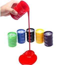Wholesale Painting Paint - Funny Kids Paint Oil Slime Toy Barrel O Slime Prank Trick Joke Gag Oil Drum Paint Bucket Gag Slime Play Joke Toys KKA1936