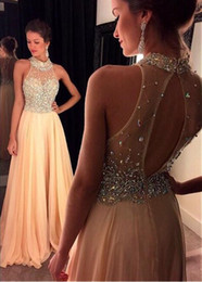 Wholesale Green Holes Dresses - Alluring Silk-like Chiffon Prom Dresses Long High Collar A-Line Key Hole Back Heavy Beading Evening Dresses Floor-Length Dresses for Party