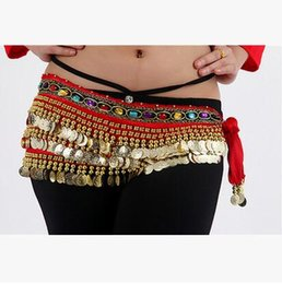 Wholesale Wholesale Belly Dancing Hip Scarves - New Belly Dance Costume Dancing 2 Rows Hip Skirt Scarf Wrap Belt Hipscarf with 248Coins Bellydance waist chain Dancing Skirts
