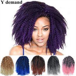 Wholesale Extension Y - Y demand Fashion 3pcs 8'' Mali bob Ombre Twist Crochet Braids Short Hair Synthetic Kanekalon marley Afro Kinky Braid Hair Extension