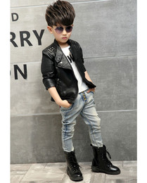 Wholesale 4t Winter Jacket - New Kids Faux Leather Jackets For Boys & Girls Children Fashion Brand Coats Outerwear Spring & Autumn
