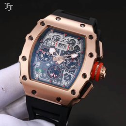 Wholesale American Tags - 43mm top brand European and American men's watches new RM 011 mineral tempered glass automatic machinery natural rubber strap