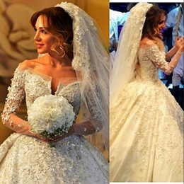 Wholesale Gold Sequin Dress Full Length - Luxury Off Shoulder Full Lace Wedding Dresses 3D Applique Beaded Long Sleeve Wedding Dress Personalized 2017 New Bridal Gown