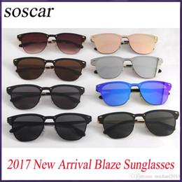 Wholesale Designer Sunglasses Ray Brand - 2017 Ray 3576N Bans BLAZE Sunglasses for Women Fashion Flash Mirror Sunglasses Soscar Brand Designer Sunglasses with Original Leather Box