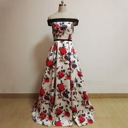 Wholesale Cheap Floral Sashes - White Print Floral Cheap Evening Dresses Long 2017 Mew Off The Shoulder Formal Dresses Evening Gowns robe de soiree longue