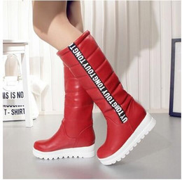 Wholesale Black Knee Wedge Boots - Winter Women Shoes Knee high Boots Female Elevator Flat Thermal Velvet Snow Boots Platform Cotton-padded Shoes Big Size 34-43 NMM5