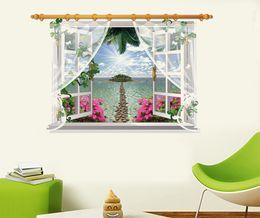Wholesale Movie Stickers - SK9020F 3D Wall Sticker View Beach Sunshine Decal Art Decor Window Door Mural