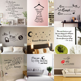 Wholesale Bedroom Wall Vinyl - 180 styles New Removable Vinyl Lettering Quote Wall Decals Home Decor Sticker Mordern art Mural for Kids Nursery Living Room