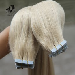Wholesale Taped Skin Weft Hair Extensions - Brazilian Tape In Human Hair Extensions 40pcs Adhesive Skin Weft Vrigin Hair 18'' 20'' 22'' Remy Brazilian Virgin Hair #613 Bleach Blonde