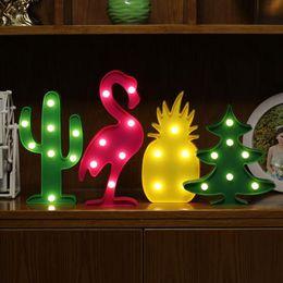 Decorações românticas para mesa de aniversário on-line-3D LED Flamingo Cactus Nightlight Romântico Night Light Table Lamp LED Decoração de Festa de Aniversário para Valentina Presente