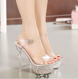 Wholesale 14cm Heels White - Women High Heel Sandals Sexy Crystal Transparent Women Shoes Fish head High Platform 14cm Shoes Large Size 35-43