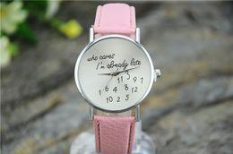 Wholesale Late Glass - 2017 Relogio Feminino Geneva Women Watches New Casual Who Cares I'm Already Late Irregular Figure Quartz Leather Watch Clock