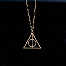 Wholesale Silver Deathly Hallows Pendant - 2017 Movie Luna Deathly Hallows Necklace Movie Fashion Long Chain Triangle Necklace Vintage Fashion Style Jewelry