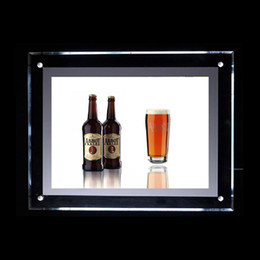 Wholesale Wholesale Poster Light Box - 50*70cm Wall Mounted Acrylic Light Box Poster Display Panel with Acrylic Panel LED 2835 Side-Lit Strong Wooden Case Packing