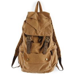 Wholesale Large Canvas Backpack For School - Wholesale- 2017 Vintage Men Backpacks Canvas Rucksack Large Daily Backpacks Women College Student School Bags For Teenagers Travel Backpack