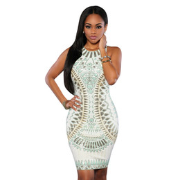 grande anca sexy Sconti Paisley Print Fashion Dresses For Big Women 2017 New Pack Hip Dress Summer Pop Nightclub gonna sexy all'ingrosso