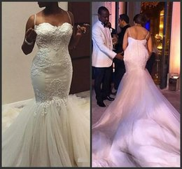 Wholesale Maria Dress - African Nigerian Ivory Mermaid Lace Wedding Dresses 2018 Straps Sweetheart Lace Appliques with Tulle Chapel Train Bridal Gowns robe de maria