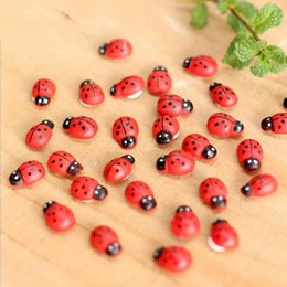 Wholesale Bamboo Dragonfly - artificial mini lady bugs insects beatle fairy garden miniatures gnome moss terrarium decor resin crafts bonsai home decor F2017724