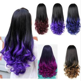 Wholesale Half Wigs Curly - HOT Ombre Wig Hair Fall Dip Dye Half Wig Curly Hair Wigs Two Tone Gradient Two Colored Synthetic Wigs for Women Assorted Colors Free shippin