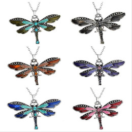 Wholesale Dragonfly Pendants Wholesale - Best gift Dragonfly creative necklace explosion paragraph accessories sweater chain WFN019 (with chain) mix order 20 pieces a lot