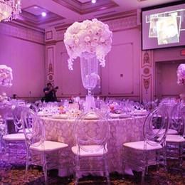 Wholesale Center Design - 10pcs lot 80cm High Wedding Center Piece Decoration Luxury Crystal Pillar In Funnel Design