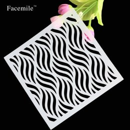 Wholesale Designer Templates - Wholesale- scrapbooking collection plastic wave pattern designer layering stencil for ink paint stamp art supplies template Free Shipping