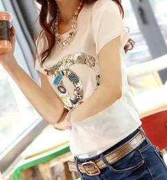 Al por mayor-Nuevo 2015 camiseta del verano de las mujeres marca de moda camiseta de manga corta o-cuello abalorios de algodón tops lindos camiseta femenina ropa mujer desde fabricantes
