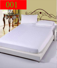 Wholesale Single Fitted Sheets - Solid Cotton Mattress Pad Fitted Sheet Single Double Bed Sheets Fitted Cover Twin Full Queen size Bedspread Bedsheet 120x200cm 150x200cm