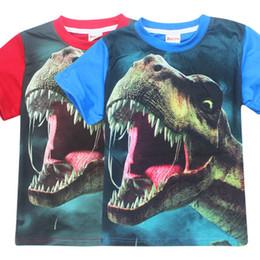 Wholesale Nova T Shirts - nova Boys T shirt 2017 dinosaur tyrannosaurus rex 3d printed short sleeve T shirt children T shirt for baby boys kids tees