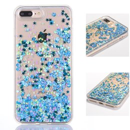 Wholesale Iphone Sand Cases - Dynamic Clear Liquid Glitter Sand Quicksand Star Cases For iphone 6 6s 6plus 7 Plus Cell Phone Cases