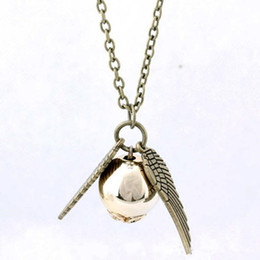 Wholesale Snitch Charms - Vintage Harry Potter Necklaces Golden Snitch Pendant Angel Wing Charm Snitch Pendent Necklace For Men women