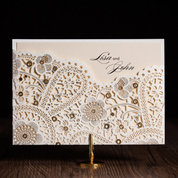 Wholesale Invitations Cut Outs - Ivory Wedding Invitations Cards With Hollow Out Rustic Laser Cut Invatation Card Flowers Elegant Party Invites new designs free shipping