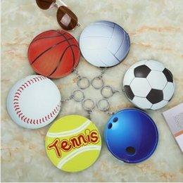 Wholesale Tennis Keychains Wholesale - Baseball Softball Basketball American Football Key Chain Baseball Softball Keyrings Tennis Coin Purse Pendant CCA7098 1200pcs
